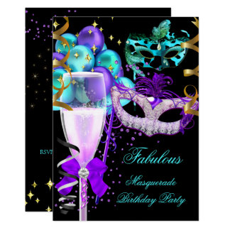 Fabulous Purple Teal Black Masquerade Party Card