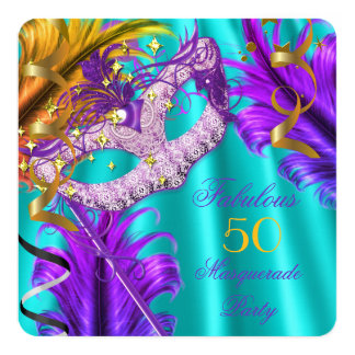 Fabulous Purple Teal Masquerade Birthday Party Card