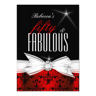 Fabulous Red Black Damask 50th Birthday Party 4.5x6.25 Paper Invitation Card