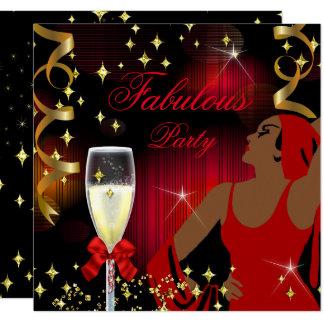 Fabulous Red Glitter Diva Birthday Card