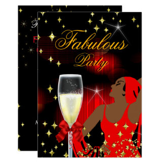 Fabulous Red Glitter Diva Birthday Party 2 Card