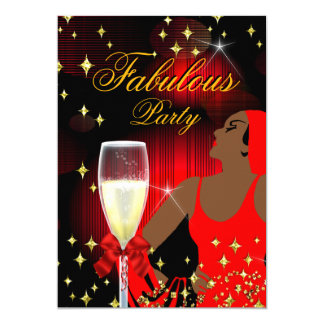 Fabulous Red Glitter Diva Birthday Party Card