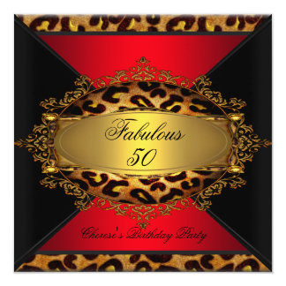 Fabulous Red Gold Black Leopard Birthday Party Card