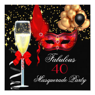 Fabulous Red Gold Black Masquerade Party 5.25x5.25 Square Paper Invitation Card