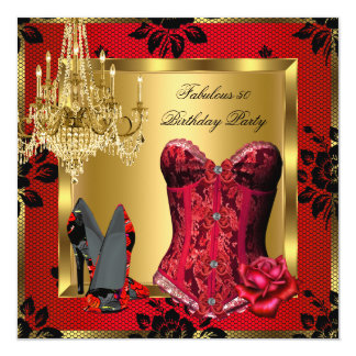 Fabulous Red Heels Chandelier Corset Rose Lace Invitation
