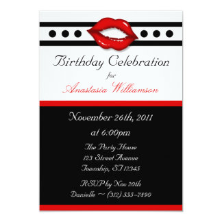 Fabulous Red Kiss Birthday Invitations