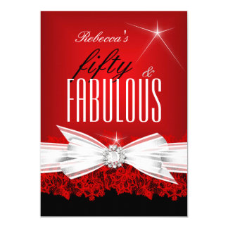 Fabulous Red Lace Black 50th Birthday Party 2 Card