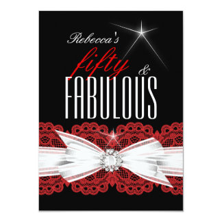 Fabulous Red Lace Black 50th Birthday Party 3 Card