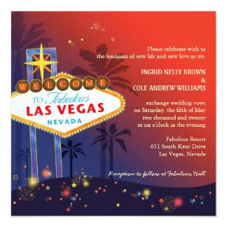 Fabulous Red n Blue Las Vegas Strip Wedding Card