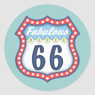 Fabulous Route 66 Classic Round Sticker