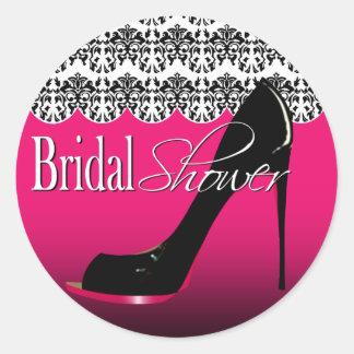 Fabulous Scalloped Damask Stiletto Bridal Shower Classic Round Sticker
