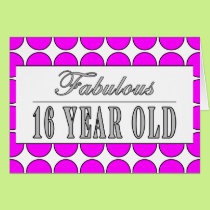 Fabulous Sixteen Year Pink Polka Dots on White Card