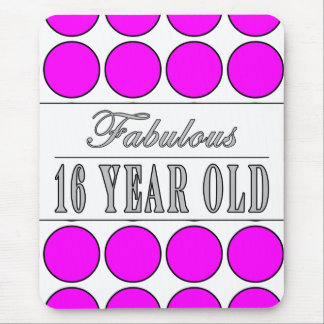 Fabulous Sixteen Year Pink Polka Dots on White Mouse Pad