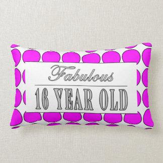 Fabulous Sixteen Year Pink Polka Dots on White Throw Pillows