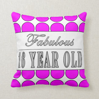 Fabulous Sixteen Year Pink Polka Dots on White Pillows