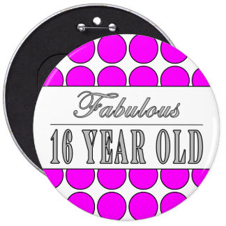 Fabulous Sixteen Year Pink Polka Dots on White Pinback Button