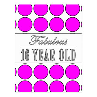Fabulous Sixteen Year Pink Polka Dots on White Postcard