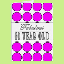 Fabulous Sixty Year Old Pink Polka Dots Card