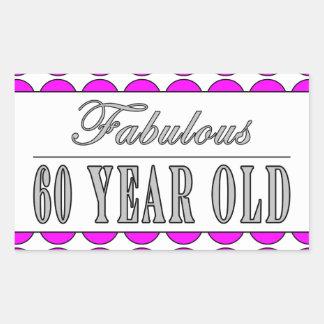 Fabulous Sixty Year Old Pink Polka Dots Rectangular Sticker