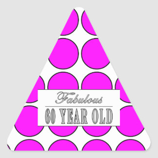 Fabulous Sixty Year Old Pink Polka Dots Triangle Sticker