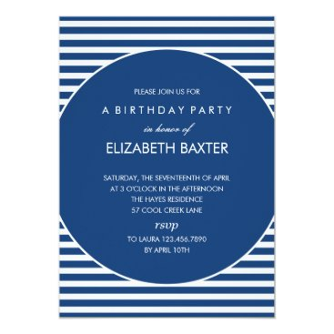 Toddler & Baby themed Fabulous Stripes General Party Invitation (Blue)