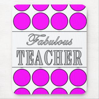 Fabulous Teacher Pink Polka Dots on White Mouse Pad