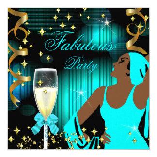 Fabulous Teal Blue Glitter Diva Birthday Card