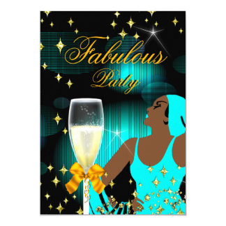 Fabulous Teal Blue Glitter Diva Birthday Party Card