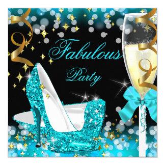 Fabulous Teal Blue Glitter High Heel Birthday Card