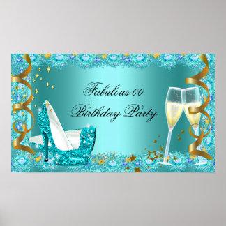 Fabulous Teal Blue Glitter High Heels Champagne BP Poster