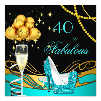 Fabulous Teal Heels Gold Black Birthday Party Card