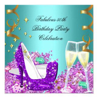 Fabulous Teal Purple Glitter High Heels Champagne Card