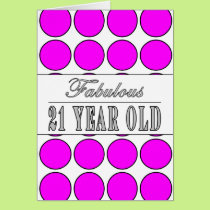 Fabulous Twenty One Year Old Pink Polka Dots Card