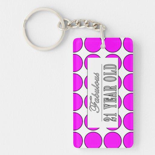 Fabulous Twenty One Year Old Pink Polka Dots Rectangle Acrylic Keychain