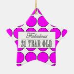 Fabulous Twenty One Year Old Pink Polka Dots Ornaments