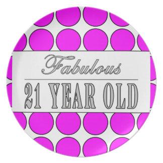 Fabulous Twenty One Year Old Pink Polka Dots Plate
