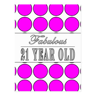 Fabulous Twenty One Year Old Pink Polka Dots Postcard
