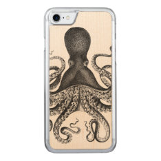 Fabulous {{{ Vintage }}} Octopus Carved iPhone 7 Case at Zazzle