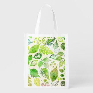 Fabulous Watercolor Leaves Print Market Tote