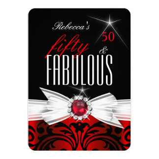 Fabulous Wild Red Black Damask 50th Birthday Party Card