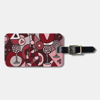 Fabulous Wine Carafe and Glasses Abstract Art Tags For Luggage