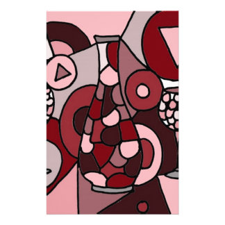 Fabulous Wine Carafe and Glasses Abstract Art Custom Stationery