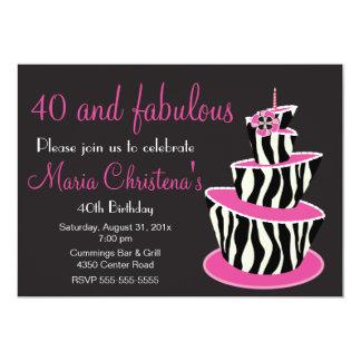 Fabulous Zebra Birthday Party Invitation (Pink)