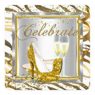 Fabulous Zebra Stripe Champagne Gold Silver Party Invitation