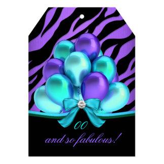Fabulous Zebra Teal Purple Balloons Birthday Card
