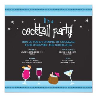 Fabulously Festive Cocktail Party (aqua) 5.25x5.25 Square Paper Invitation Card