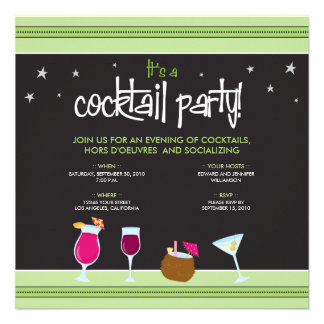 Fabulously Festive Cocktail Party (lime green) Personalized Announcement