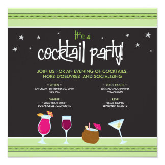 Fabulously Festive Cocktail Party (lime green) 5.25x5.25 Square Paper Invitation Card