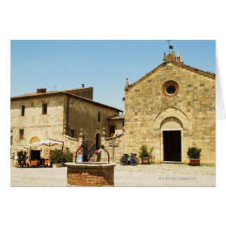 Facade of a church, Romanesque Church, Piazza Greeting Card