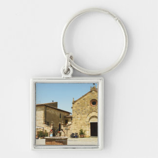 Facade of a church, Romanesque Church, Piazza Keychain